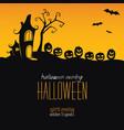 halloween background silhouettes pumpkins vector image