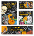 halloween witch monsters sketch posters vector image vector image