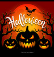 happy halloween full moon three pumpkins vector image vector image