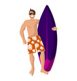 happy surfer in orange shorts holding a vector image vector image