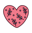 happy valentines day cute heart love with leaves vector image vector image