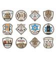 israel symbols judaism religion jewish icons vector image vector image