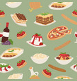 italian food with cooking pizza lunch pasta vector image