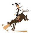 man or cowboy rides on horse isolated vector image