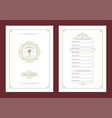 menu design template with cover and restaurant vector image vector image