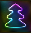 neon glowing icon of christmas fir tree vector image vector image