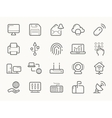 Network Communication and Electronics Line Icons vector image