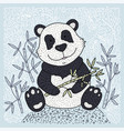 panda bear with bamboo vector image vector image