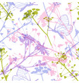 seamless pattern with butterflies and wildflowers vector image