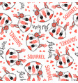 seamless pattern with cute squirrel face with a vector image vector image