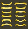 set golden ribbons banners flat design vector image vector image