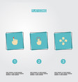 set of gestures icons flat style symbols with vector image vector image