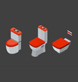set of isolated isometric toilet icons vector image