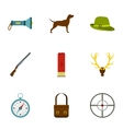 Shooting at animals icons set flat style vector image vector image