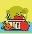 shopping basket with fruits and vegetables carrot vector image