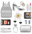 silver fashion accessories vector image vector image