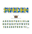 sweden cartoon font swedish national flag colors vector image