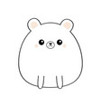 white bear face head body kawaii animal cute vector image