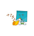 with trumpet blue rectangle sticker paper on white vector image vector image