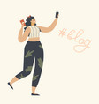 young woman character with smartphone in hands vector image