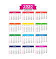 2020 Year calendar isolated on white background vector image vector image