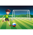 A soccer player from Russia kicking the ball vector image vector image