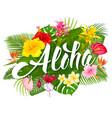 aloha hawaii lettering and tropical plants vector image vector image
