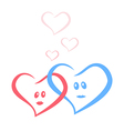 blue and red love hearts together vector image