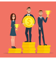Businessman stand on money coin and hold a prize vector image vector image