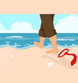 businessman walking on the beach vector image vector image