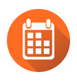 calendar icon on orange round background flat vector image