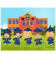 Cartoon little children Graduation Celebration on vector image vector image
