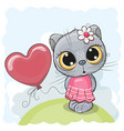 cat girl with balloon on the meadow vector image vector image
