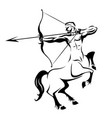 centaur silhouette ancient mythology vector image