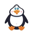 Cheerful cute penguin sits fat birdie has a rest vector image vector image