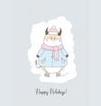 christmas card year bull postcard poster vector image vector image