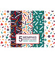 collection colorful seamless patterns - memphis vector image vector image