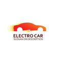 colorful logo of electro car in red colors vector image vector image