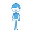 cute blue boy cartoon vector image