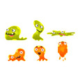 cute jelly monsters set funny slimy cartoon vector image vector image