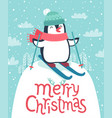 cute penguin skiing down the hill merry christmas vector image vector image