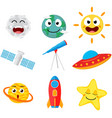 cute space cartoon collection set vector image vector image