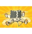 Drone copter with bundles of money vector image vector image