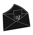 E-mail with virus icon in black style isolated on vector image vector image