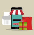 electronic commerce with smartphone vector image vector image