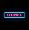 florida neon sign bright light signboard banner vector image vector image