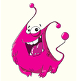 Funny cartoon fluffy pink monster with a smile vector image vector image