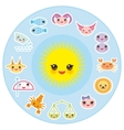 Funny Kawaii Sun zodiac sign astrological stiker vector image