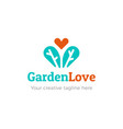 gardening logo with heart icon vector image vector image