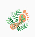 go green human footprint with plant twigs and vector image vector image